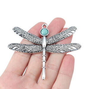 2pcs Antique Silver Large Dragonfly Charms Pendants for Necklace Making 81x65mm