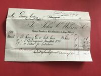 John C Wilson & Co Brass and Bell Founders  1884  Glasgow receipt R33508