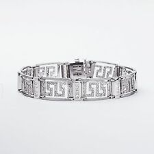 14K WHITE GOLD MEN DIAMOND BRACELET VERSACE DESIGN HANDMADE