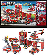New FIRE STATION Set BLOK SQUAD Mega Bloks 24038 FIRETRUCK Helicopter 2404 + EXT