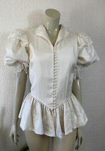 Vintage 1980's Top Cream Lace Pearls Button Front Puff Sleeves Size 14