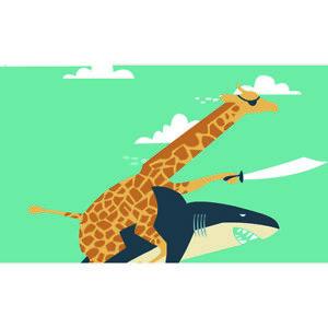 3'x5' Garden Flag Funny Giraffe Shark Illustration Yard Home Wall Lawn Polyester