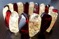 Unique Acrylic Gold Crackle Root Beer Red Brown Modernist Stretch Cuff Bracelet