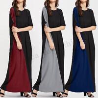 Women Long Maxi Dress Patchwork Casual Summer T-Shirt Dress Sundress Plus Size
