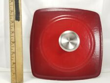 """New listing Cast Iron 8"""" Panini Grill Griddle Steak Burger Bacon Press Red Enameled"""