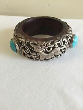 Bracelet Wood, Turquoise Tibetan Repousse Coin Metal