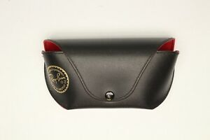 Ray Ban Sunglasses CASE ONLY Black Leatherette Red Flocked Lining Snap Luxottica