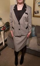 Vintage Checked Dark Brown And White Skirt Suit Size 16-18 Indie Boho New Wave