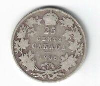 CANADA 1908 TWENTY FIVE CENTS QUARTER KING EDWARD VII STERLING SILVER COIN