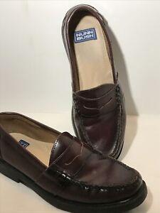 Nunn Bush Drexel 85538-05 Burgundy Leather Penny Loafers Shoes Men's US 10.5 M