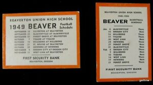 BEAVERTON UNION HIGH SCHOOL 1949 FOOTBALL & BASKETBALL BEAVER SCHEDULES OREGON