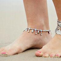 Fashion Silver Anklet Ankle Bracelet Leaf Foot Chain Adjustable Women Jewelry