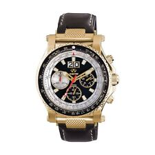 Reactor Valkyrie Gold Plated SS Black Dial Black Leather Strap 81101