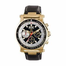 Reactor Valkyrie Chronograph Gold Black Leather Men's Watch 81101
