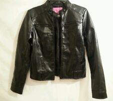 Purple Rain Faux  Black Leather Motorcycle Jacket Zipper Juniors Size M