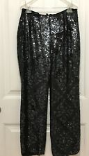 1990's Stenay Black Backzip Sequin Trousers Pants Size 4 Fast Ship