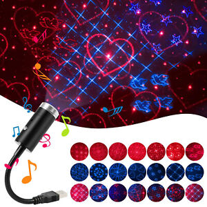 Sound Activated Multi-Pattern Starry Sky Projector USB LED Galaxy Lamp Car Decor