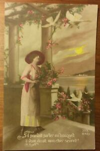 VINTAGE POSTCARD EDWARDIAN FRENCH GREETINGS CARD,DOVES, UNPOSTED,