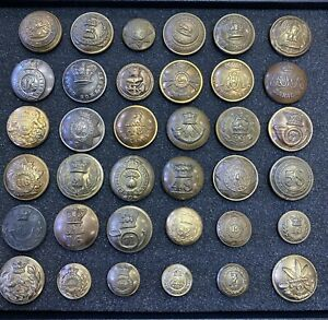 Lot of 36 Early British and Canadian Regimental Brass Buttons Military
