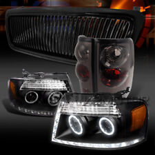 04-08 F150 Black Halo LED Projector Headlights+Vertical Grille+Smoke Tail Lamps
