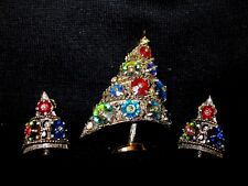 Vtg Weiss Swarovski Crystal Margarita Rivoli Stone Xmas Tree Pin Earrings Set