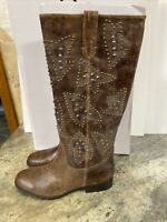 FRYE & CO DISTRESSED Chocolate LEATHER STUD TALL Cowboy BOOTS PHOENIX Sz 9.5 M