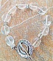 RARE Silpada .925 Sterling Silver Quartz Crystal Nuggets Toggle Bracelet B1199