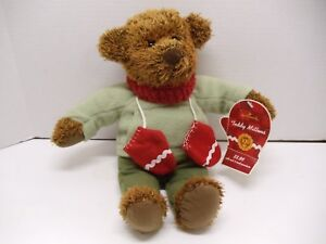 HALLMARK Plush Bear -TEDDY MITTENS Red Mittens and Scarf 13 Inches Tall w/ Tag