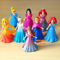 8 Princess Belle Merida Cinderella Snow White Anna Elsa MagiClip Barbie Toy Doll