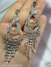 Rhinestone Chandelier Earring Earrings Austrian Crystal Bridal Pageant Prom 3.75