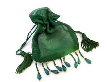 """Lot of 5 Green 3""""x3"""" Beaded Organza Bags Favor Pouch, Great for sachets jewelry"""