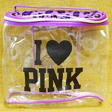 Victoria's Secret I Love PINK Cosmetic Makeup Bag Clear + Purple Leopard Print