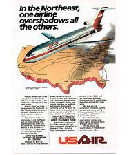 1984 US AIR Boeing 727 Destination Map Vintage Print Ad