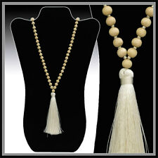 LONG BLONDE WOOD BEAD & GOLD SEED BEAD W/ SILKY IVORY THREAD TASSEL NECKLACE