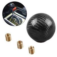 1 Set Black Carbon Fiber Gear Shift Knob Round Ball Shape Fit Universal Car Top