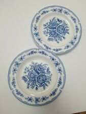 """American Atelier in Home 2 """"Floral Toile 5197 Blue"""" Stone Ware Plates"""