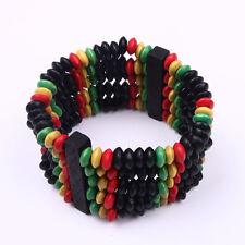 Rasta Wooden Bracelet Reggae One Love Red Yellow Green Black 1sz Fit