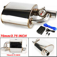 "Car Exhaust Muffler Resonator 2.75"" Inlet Outlet Pipe+Cutout Valve Remote Silver"