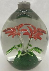 BOHEMIAN POSSIBLY VICTORIAN FLOWERS GLASS DUMP/ PENHOLDER PAPERWEIGHT 2.6kg.