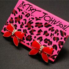 New Betsey Johnson Fashion Lovely Red Enamel Bowknot Wonmen Earrings Gift