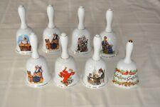Lot of 8 Vintage Norman Rockwell Bells 1985 Porcelain Bells