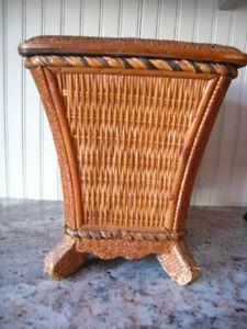 Vintage/Antique Asian Style Wicker Rattan Wood Stool Storage  Waste Basket