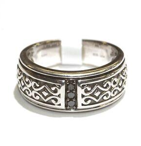 New 925 sterling silver .12ct black diamond mens celtic wedding band ring 9g xx