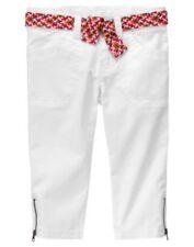 Gymboree NWT Batik Summer size 5 adjust waist white capri pants braided belt