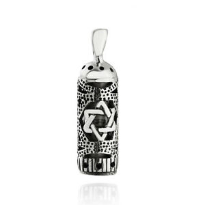 Mezuzah with Star of David Pendant - 925 Sterling Silver - Jewish Pendant Gift