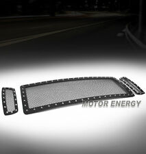 05-07 FORD EXCURSION/F250/F350 SD RIVET STAINLESS MESH GRILLE GRILL INSERT BLACK