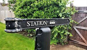 "Vintage London Signpost Cast Metal Direction Sign STATION Size 38""x3.5""x1"""
