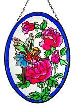 "Suncatcher Fairy with flowers Design 9"" oval"