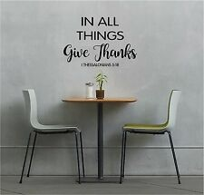 In All Things Give Thanks Wall lettering Mural Vinyl Decal Bible Verse