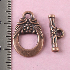 20sets  antiqued copper color 2sided floral toggle clasp H0680-1